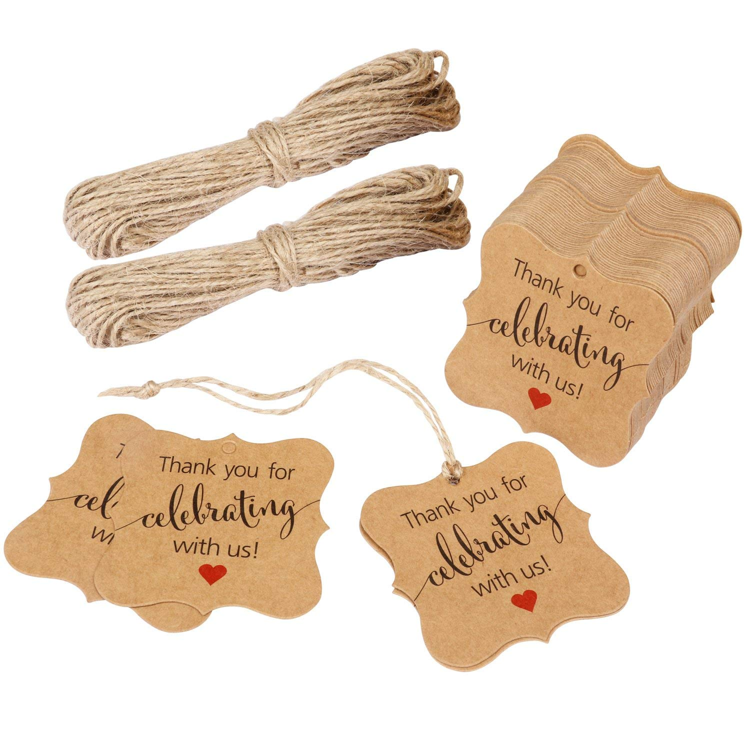 Black Thank You Tag 100 PCS Fancy Frame Gift Tags Kraft Paper Tags with Jute Twine Thank You Cards Pre-Printed Thank You for Celebrating with US