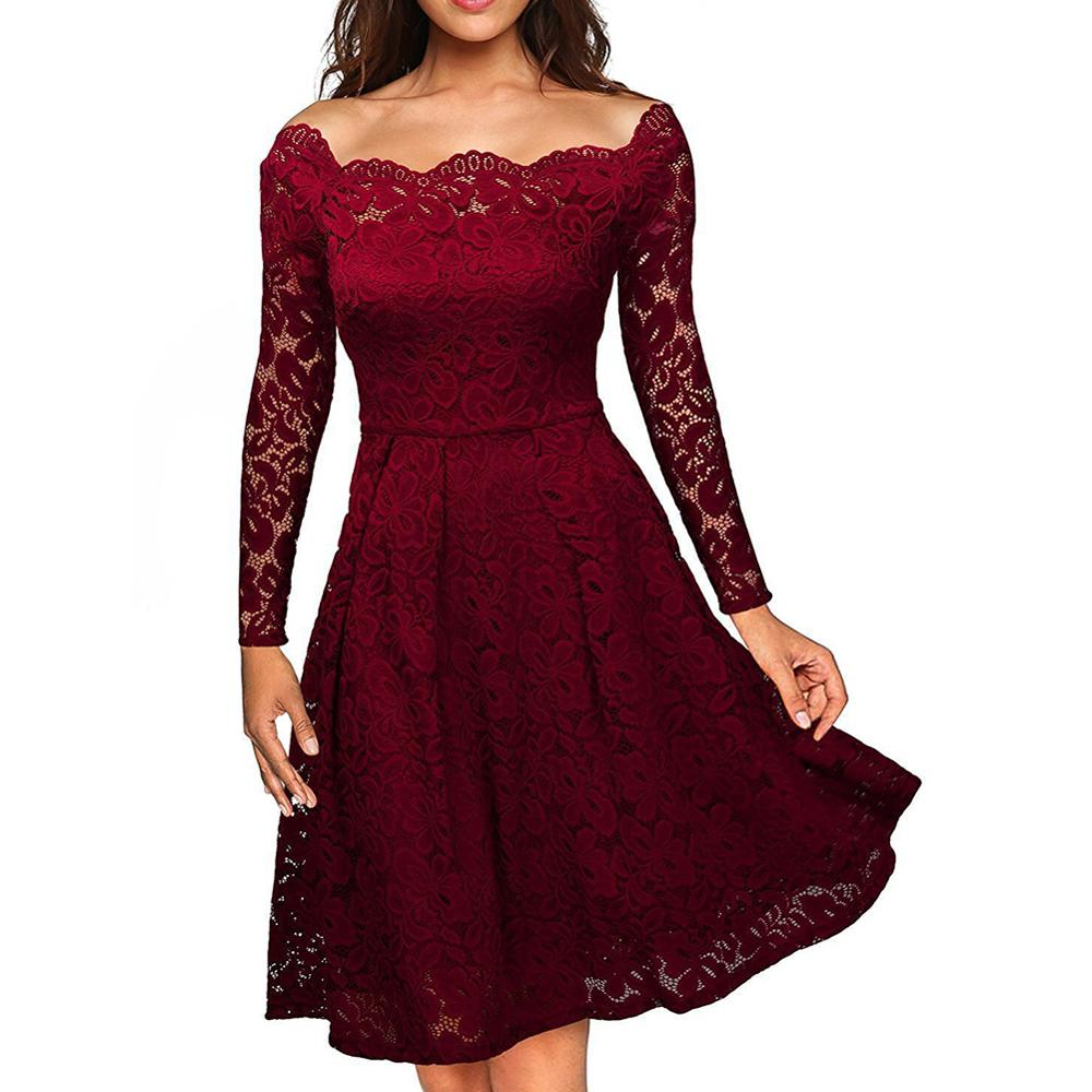 No Moq Wine Red Long Sleeves Off Shoulder Women Maxi Lady <strong>Dress</strong>