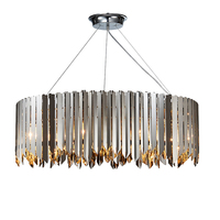 Nordic Design Modern Indoor Living Room Stainless Steel Round Chandelier Large Golden Chrome Finishing Pendant Lamp for Home