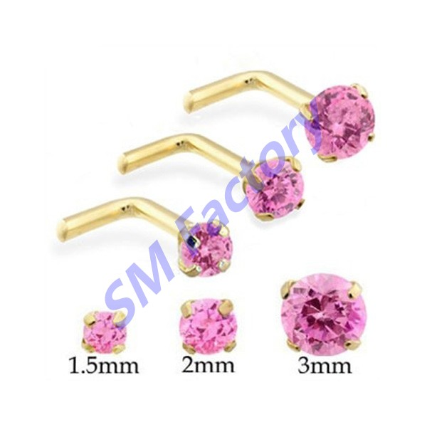 L Shape Nose Pin With Round Pink Diamond Nose Ring Body Jewelry