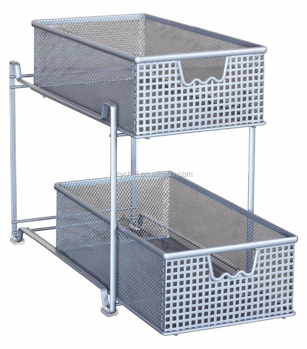 Two Tier Mesh Cabinet Basket Organizer Drawer /kitchen Cabinet Metal Drawers