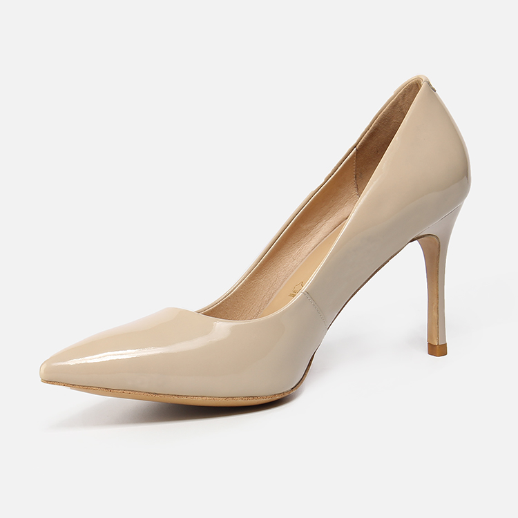 Shoes Women's Cow Pump Nude Heel 9CM Ladies Patent for Leather Genuine High Thin Classy Pointed 1pwqC7p