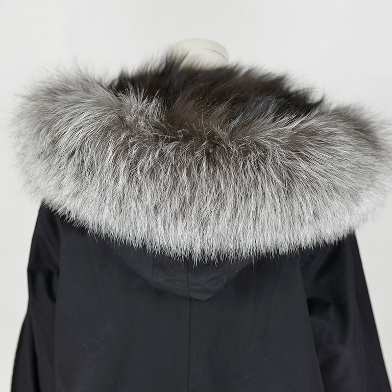 Latest Luxury Ladies Black Parka with Real Silver Fox Fur Lining and Hood