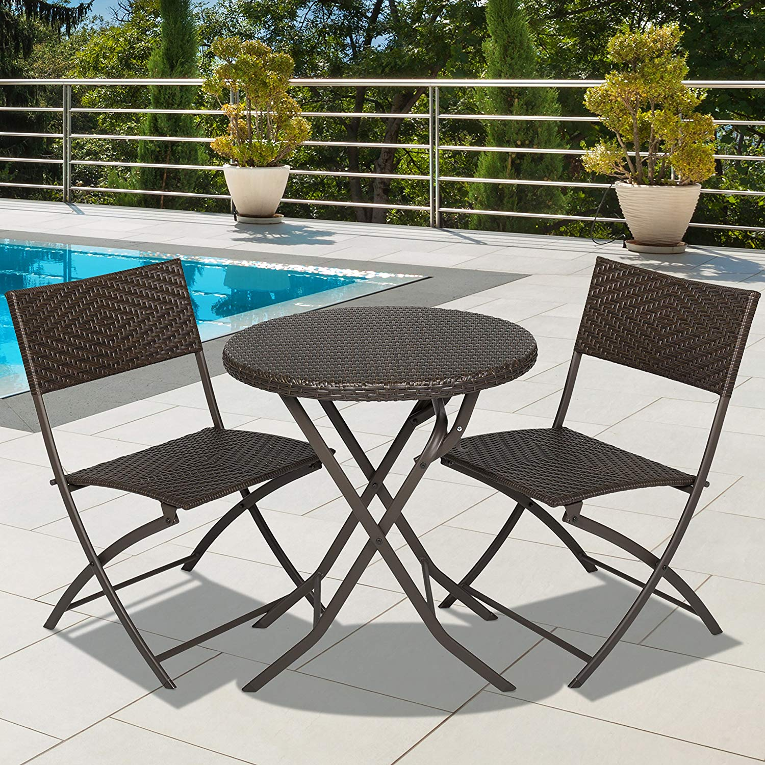 3-Piece Outdoor Patio Folding Rattan Hand Woven Bistro Set Furniture w/ Table, 2 Chairs - Brown, Elegant Bistro Set is Constructed From PE Resin Wicker and a Powder-Coated Aluminum Frame