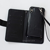 Multi-functional separation wallet style leather case for iphone x wrist rope, for iphone x flip case cover