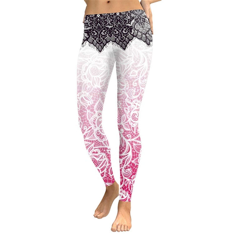 KEBINAI Athletic-leggings Kebinai Women Leggings Flower 3D Digital Printing Slim Pink Fitness Women's Leggings Pencil Pants