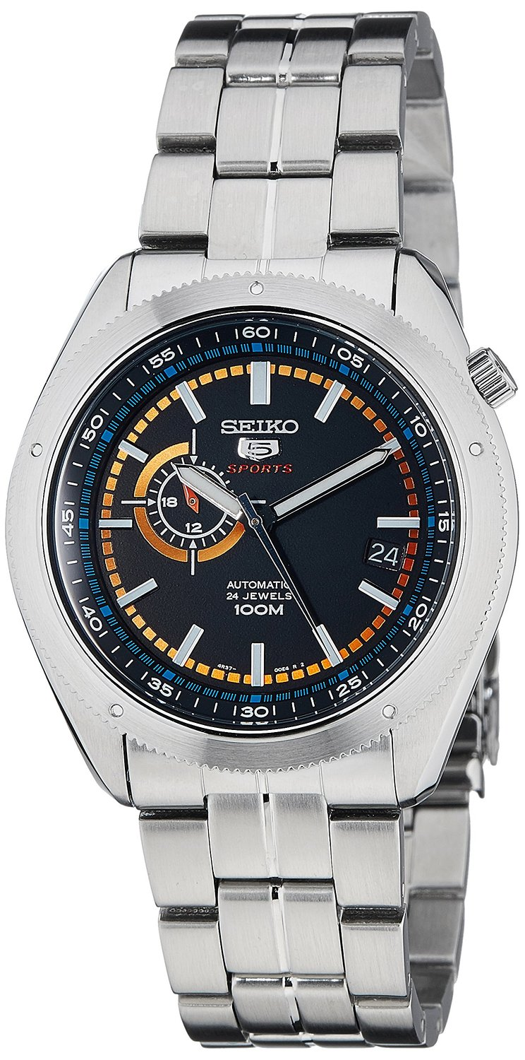 Seiko 5 Sports Black Dial Stainless Steel Automatic Mens Watch SSA067