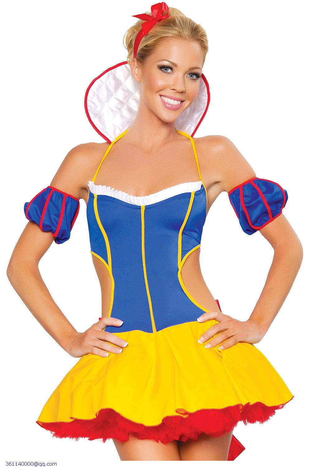 e13358438b7 Get Quotations · Fantasy Snow White Costume cosplay clothes sexy lingerie  hot babydoll dress