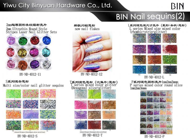 12 Bottle/set Mix color Mixed Shape Nail Art Glitter Flakes