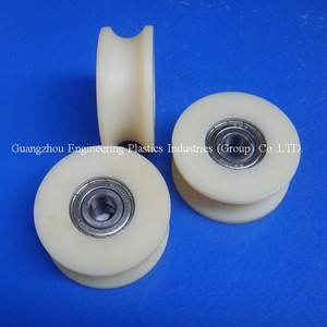 Self-lubrication plastic nylon pulley wheels with bearing machine part nylon pulley