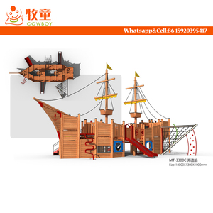 Pirate Ship Wooden Used School Outdoor Playground Equipment For Sale
