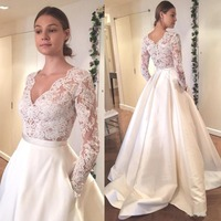V Neck Long Sleeves Lace Bridal Gown Satin A Line Wedding Dress