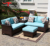 Round the Corner Sofa Outdoor Wicker Sectional Sofa for Small Spaces