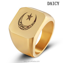 DAICY top quality men's stainless steel moon and star muslim ring