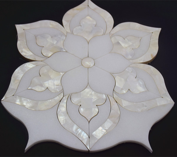 Beautiful flower waterjet marble mix shell mosaic tile