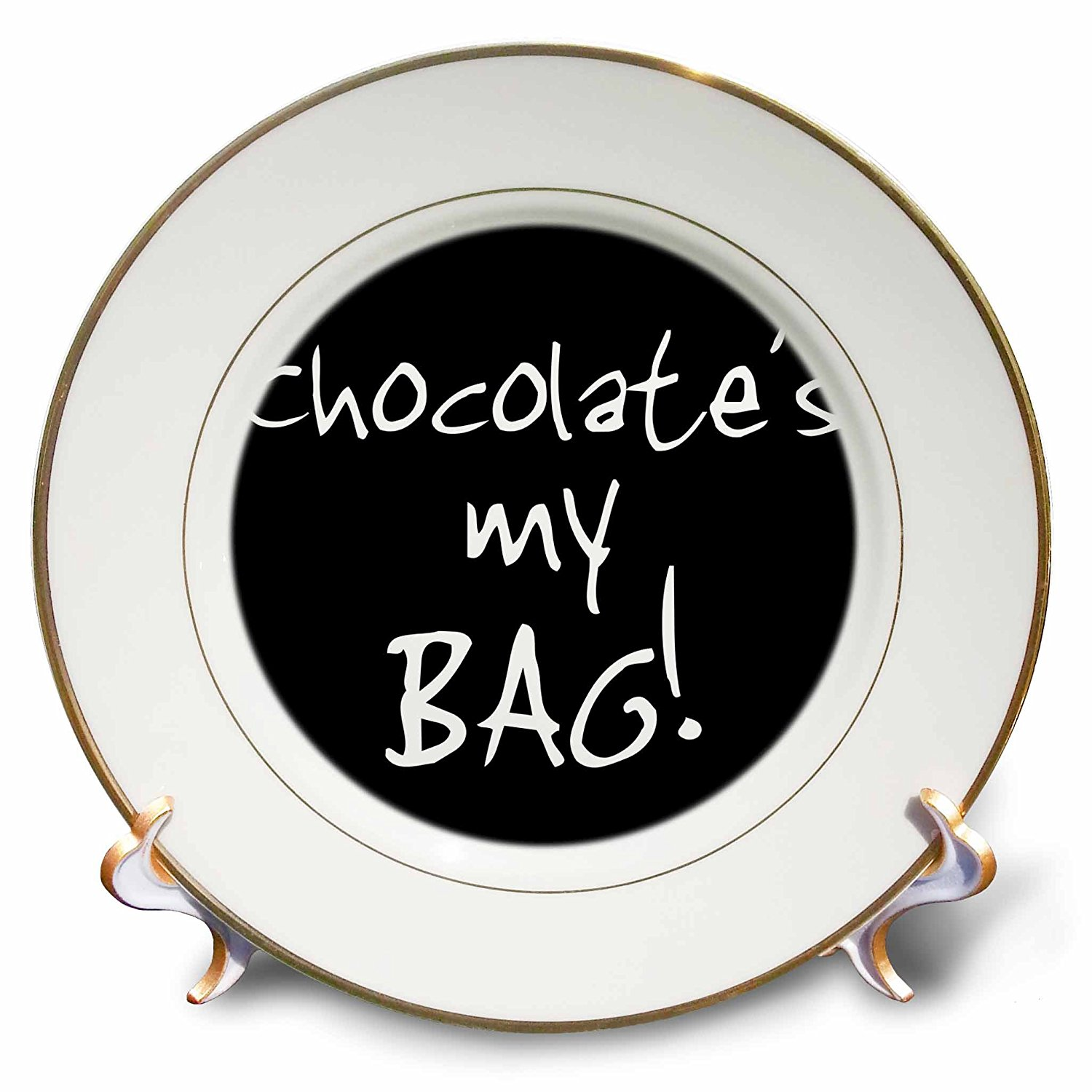 InspirationzStore Its My Bag - Chocolate is my Bag - fun chocoholic black and white text choc lovers - 8 inch Porcelain Plate (cp_232146_1)