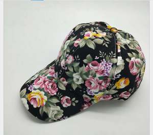 2019 New fashion style flowers printing breathable girls caps for women
