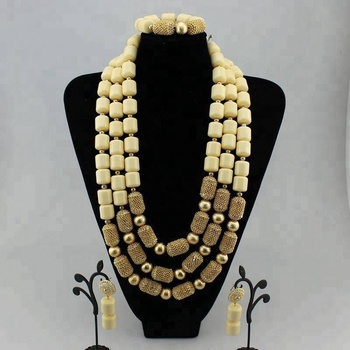 AZ2435 Nigerian African Fashion Wedding Coral Beads Necklace Jewelry Set For Women