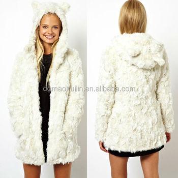 Women s White Cat Ears Hooded Faux Fur Coat 60b4b4f4b
