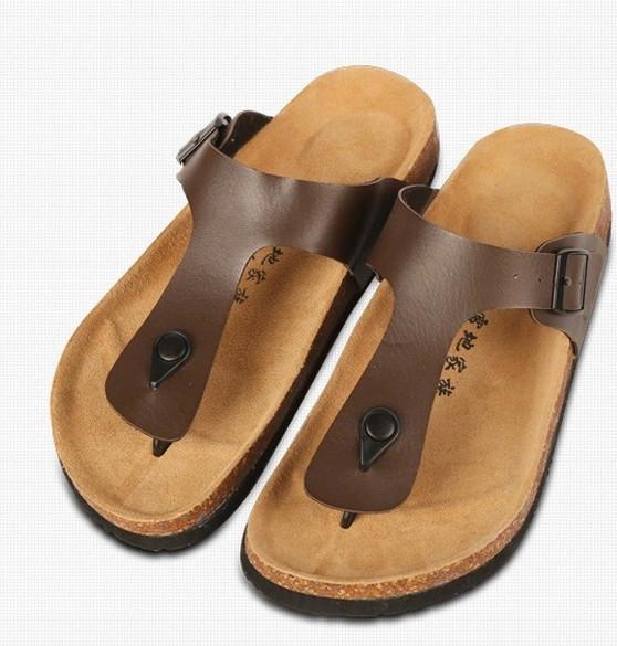 2eb4d539142eb Get Quotations · 2015 Summer New Brand Birkenstock Men Sandals Shoes Casual  Men s Soft Leather Sandals Fashion Cork Flip