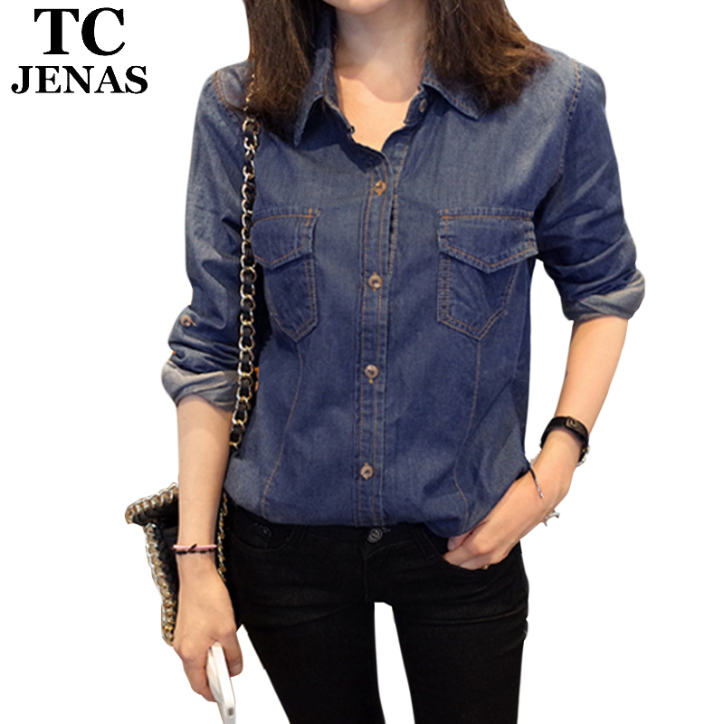 4f4d1437 Get Quotations · TC Women's Shirts 2015 Autumn Casual Denim Shirts Pockets Button  Jeans Shirt Top Blouses And Dress