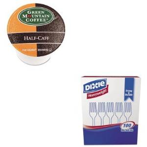 KITDXEFH207GMT6999CT - Value Kit - Green Mountain Coffee Roasters Half-Caff Coffee K-Cups (GMT6999CT) and Dixie Plastic Cutlery (DXEFH207)