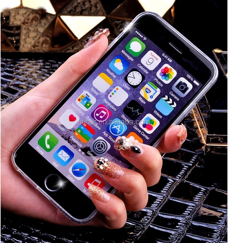 Durable silicone Soft TPU mirror electroplate phone case for iPhone 6 / 6S 4.7 5.5 pink gold black silver