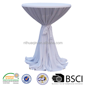 100%Polyester Bistro Table Cover Cocktail Table Cloth Polyester Dry Bar  Table Cover With Band