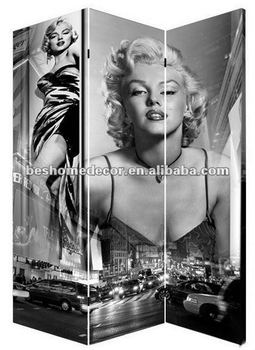 3 Pannels Marlyn Monroe Fabric Screen Room DividerHand Painted