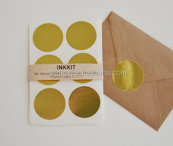 Circle Glossy Silver Plastic Sticker For Sealing Envelope