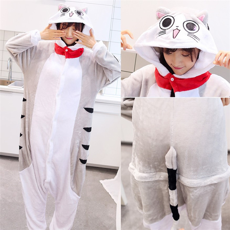 ed194a7846 Mode unisex cartoon winter cosplay kostüm charakter cat hoodie onesie  overall tier kigurumi