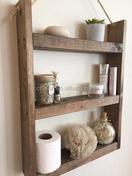 Grosses Badezimmer Regal Kuchenregal Gewurzregal Seil Hangen Holz