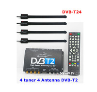 DVB-T24 Car DVB-T2 TV Receiver 4 Tuner 4 Antenna USB dvb-t terrestrial signal finder