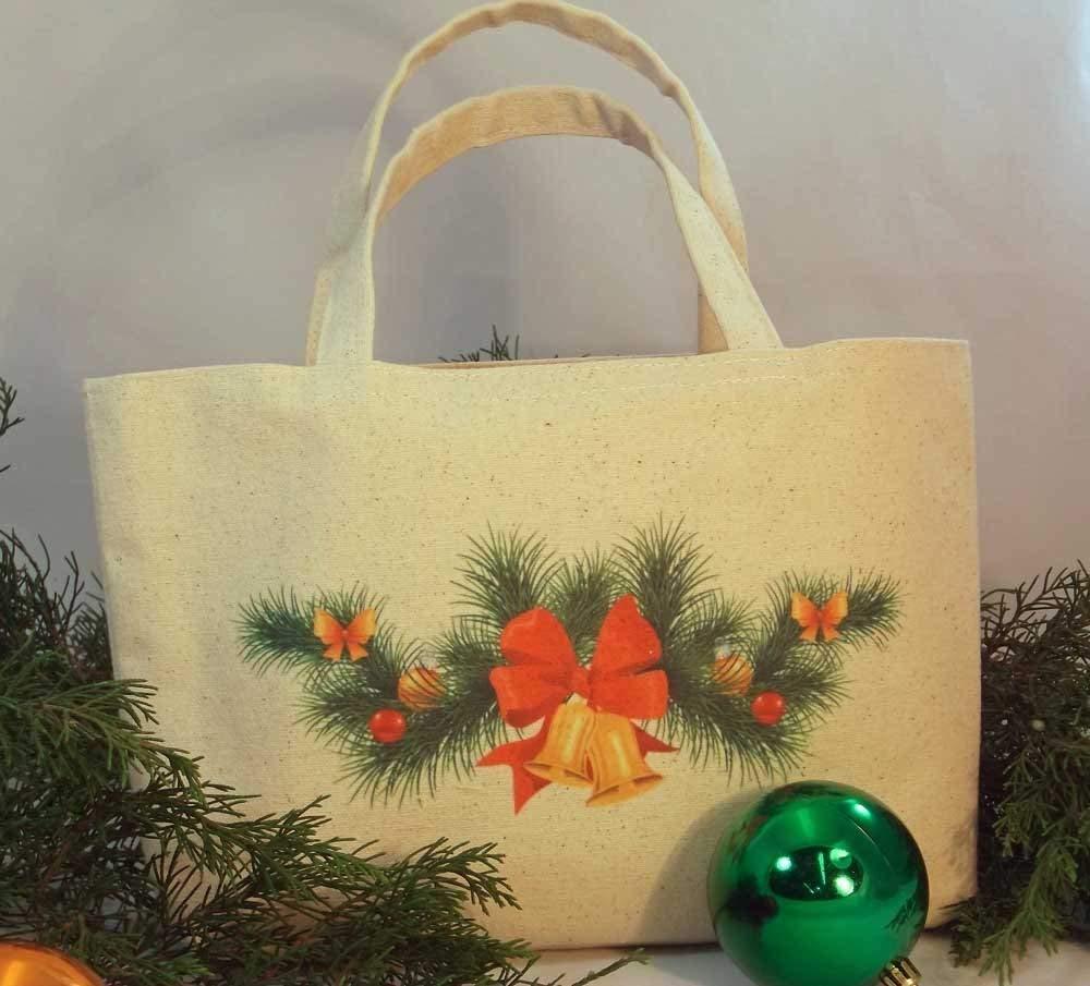 "CHRISTMAS GIFT BAG Mini Tote Reusable Gift Bag, vibrantly printed crisp natural color canvas Christmas Designs, Mini Tote Size: 8.50"" tall x 14"" wide with 2.5"" gusset."