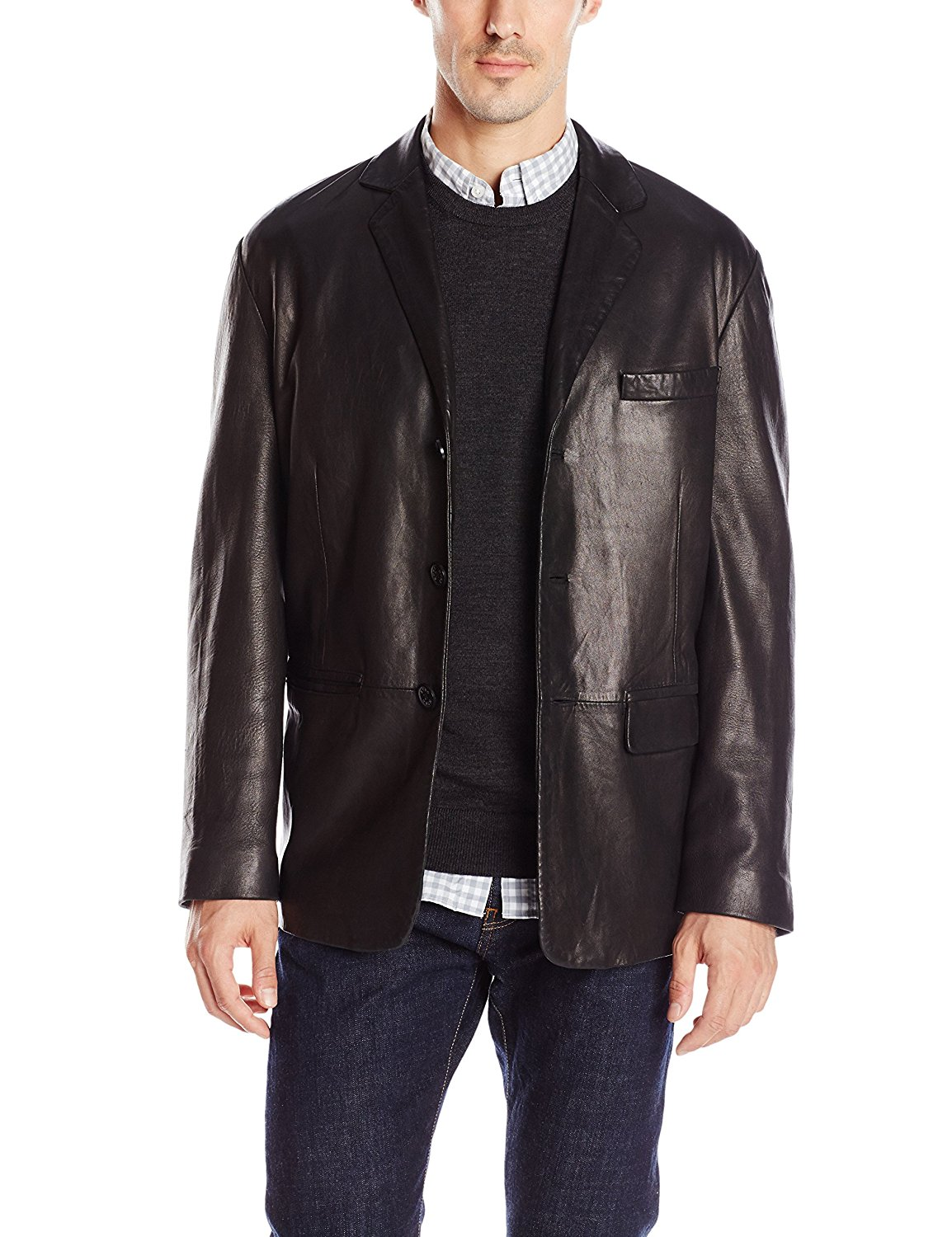 USA Leather Classic Mens Black Leather Coat - Small