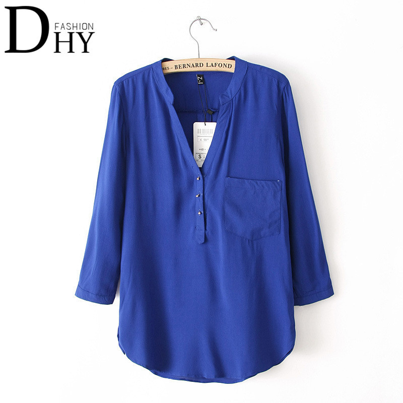 2015 New Women Chiffon  Women's V-Neck Full Sleeve Vintage Blusa Solid Color  Fashion Women's Tops Summer Style DR030