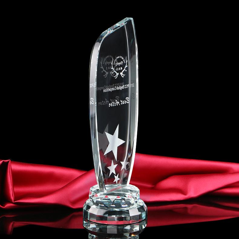 Wholesale new design blank star shaped art crystal trophy award