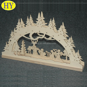 Custom Wholesale Christmas Laser Carved Wood Ornament
