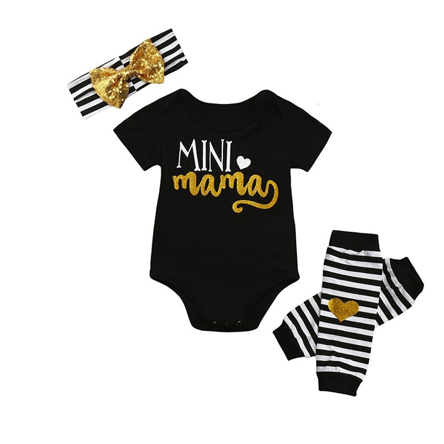 Dainzuy Infant Baby Girls Mini Mama Romper+Leg Warmer+Headband Outfit Set Clothes