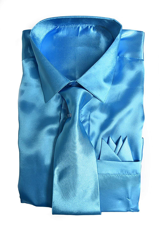 862e99ed Buy Classy Mens Satin Shiny Light Pink Shirt Set + Matching Tie and ...