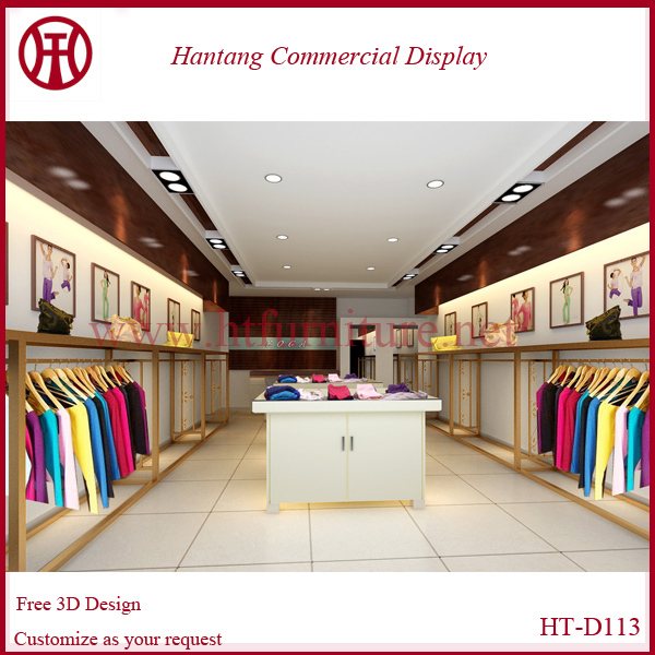 Free garment shop interior design with led light and steel rack ...
