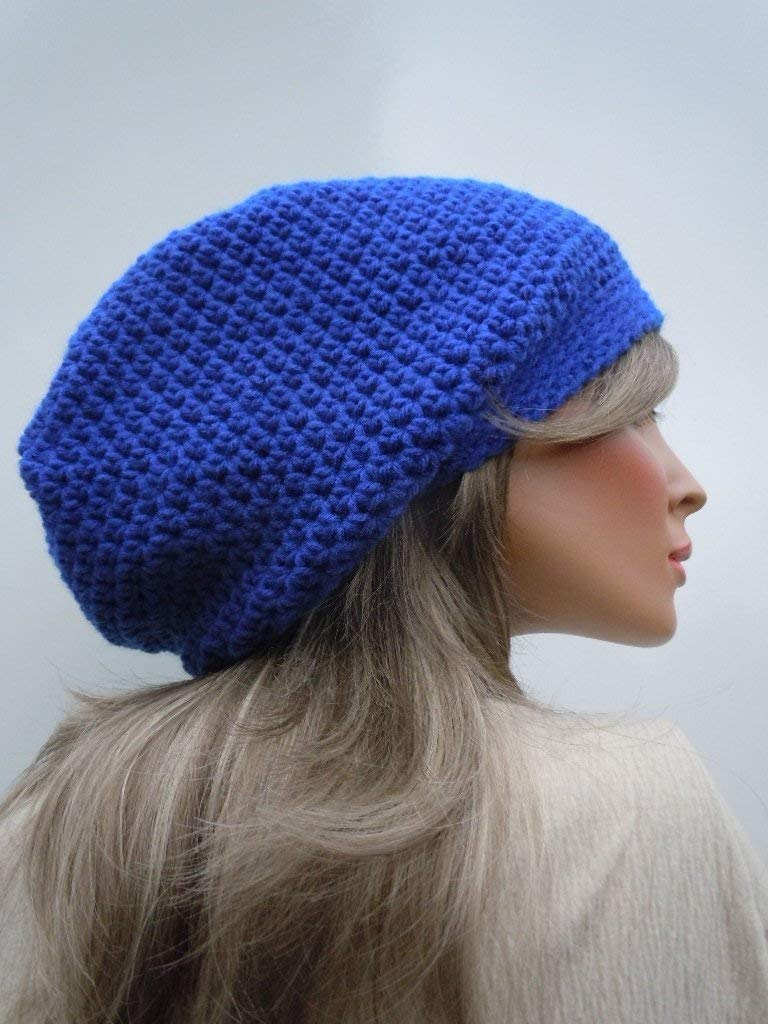 a83f50af37db92 Get Quotations · Royal Blue Slouchy, Hippie Beanie, Oversized Slouchy,  Dreadlock Tam, Long Stocking Cap