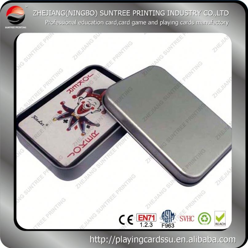 Low price and MOQ Tin Box Game Poker Playing Cards With Pvc Window
