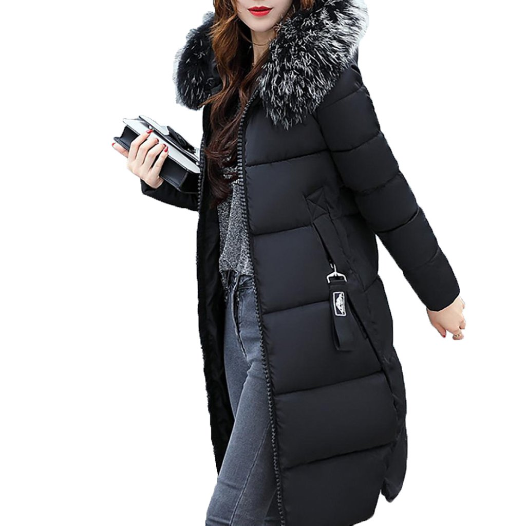 Realdo Mens Winter Coat Clearance Sale Casual Long Solid Hooded Fur Collar Thick Jacket with Pocket