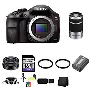 Sony A3000, ILCE-3000, ILCE-3000LB, 20. 1MP Interchangeable Lens Camera Black (Body) with Sony 16-50mm f/3.5-5.6 OSS Alpha E-mount Retractable Zoom Lens SELP1650 and Sony E 55-210mm F4.5-6.3 Lens for Sony NEX Cameras SEL55210 16GB Package 1