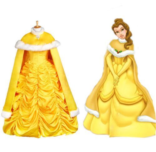 Get Quotations · Free Shipping 2015 Halloween Beauty Princess Belle Flowery  Cosplay Fancy Dress Costume with cape 4cdbdcdb0f0f