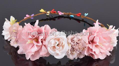 Carnations Peony Flower Halo Bridal Floral Crown Hair Band Wreath