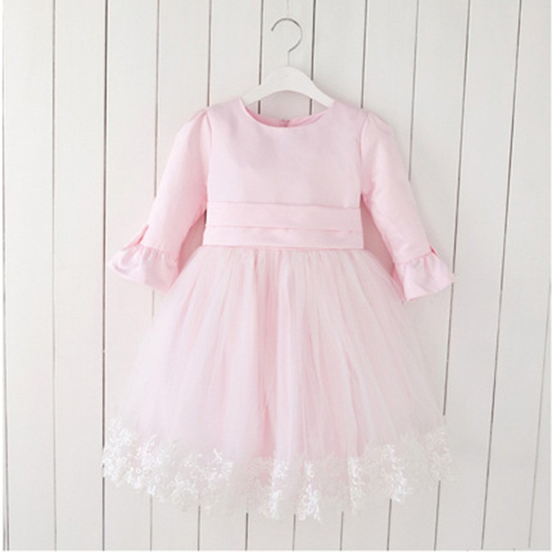 Little Girls' Winter Dresses Pale Pink Color Long Sleeves Normal Daily Wear for Girls LA021CX