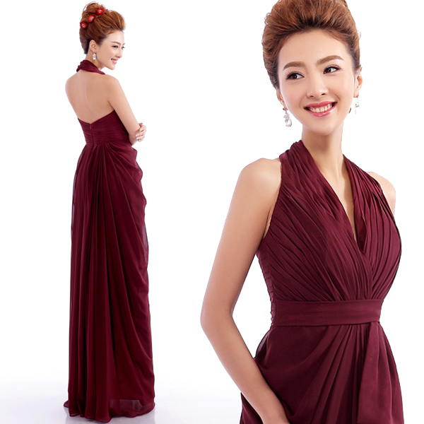 Wine Red Prom Dresses 2015 Halter Sleeveless Backless Floor-Length Burgundy Prom Dress Vestido De Festa Long Prom Dresses G417