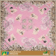 Cheap large pink custom palestine square satin silk head leopard animal print scarf shawls for women
